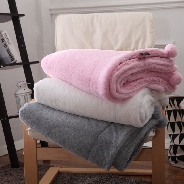 Hot Europe Style Faux Rabbit Fur Blanket Super Warm Sherpa Plush Double Sided For Sofa