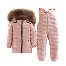 -40 Degrees Clothing Winter Jacket For Girls Boys White Duck Down Jacket+Pants Suit Solid Thick Outerwear Coats Waterproof