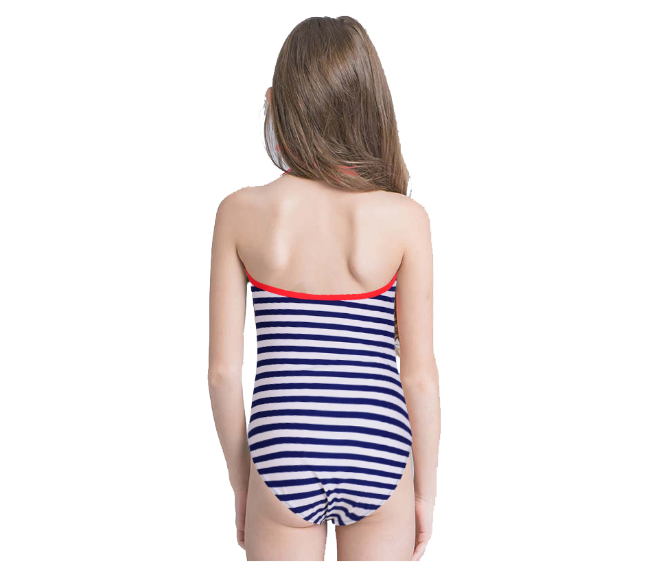 ebe22ae9f9498 New Girl Navy Strip Swimsuit Kids One Piece Suit Ruffle Lotus Bathing Suit  Backless Swimwear 5-14 Years Old Children Beachwear. -2 01 -2 02 -2 03 ...