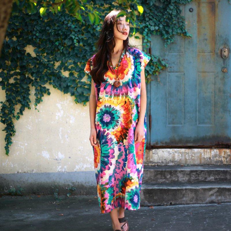 Bohemian style Print Flower Women Long Dress Plus size ...