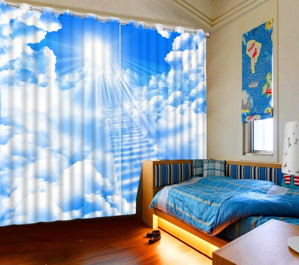Moderne rideau occultant européen 3D espace créatif nuage échelle rideau pour la chambre 2 pièces rideaux occultants