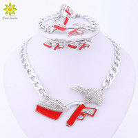 New Sexy Women Jewelry Sets High Heels Gun Pendant Crystal Necklace Sets Silver Plated Link Chain