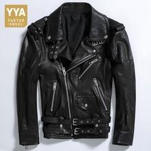 Brand Luxury Men Jacket Genuine Leather Mens Jacket Pocket Zipper Male Coats Streetwear Slim Fit Biker