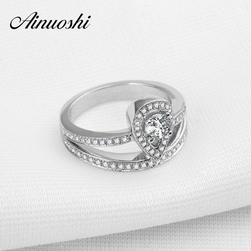 ⊱Ainuoshi waterdrop boda anillo de plata sólida 925 corte redondo ...