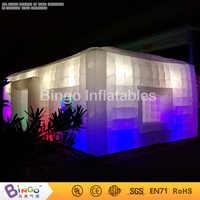 Wysokiej jakości 9.5X5X3.7 M gigantyczny oświetlenie LED nadmuchiwane namiot na ślub party dostosowane namiot kostka na rzecz wymiany handlowej pokaż przypadku namiot do zabawy