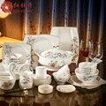 Rote pfingstrose hochwertigen bone china geschirr set 56 kopf von haushalt keramik Chinesischen geschirr schüssel hochzeitsgeschenk-in Besteck-Sets aus Heim und Garten bei
