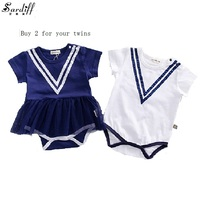 2017 New Arrival Baby Girls V Neck Rompers Navy Style Clothing Sets For Girl Stand On