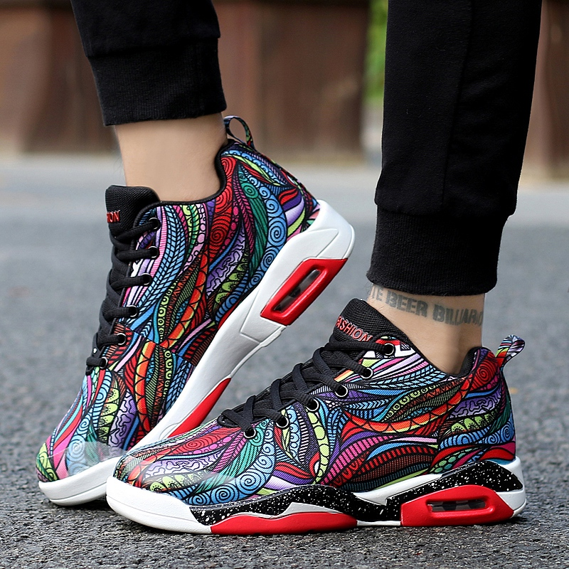 2019 Men Women Air Cushion Basketball Shoes Colorful Jogging Sneakers Damping Adults Sports Shoes Big Size 47 Athletic Footwear