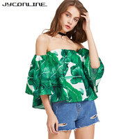 JYConline Summer Women Blouse Off Shoulder Tops And Shirts For Women Slash Neck Print Floral Shirts