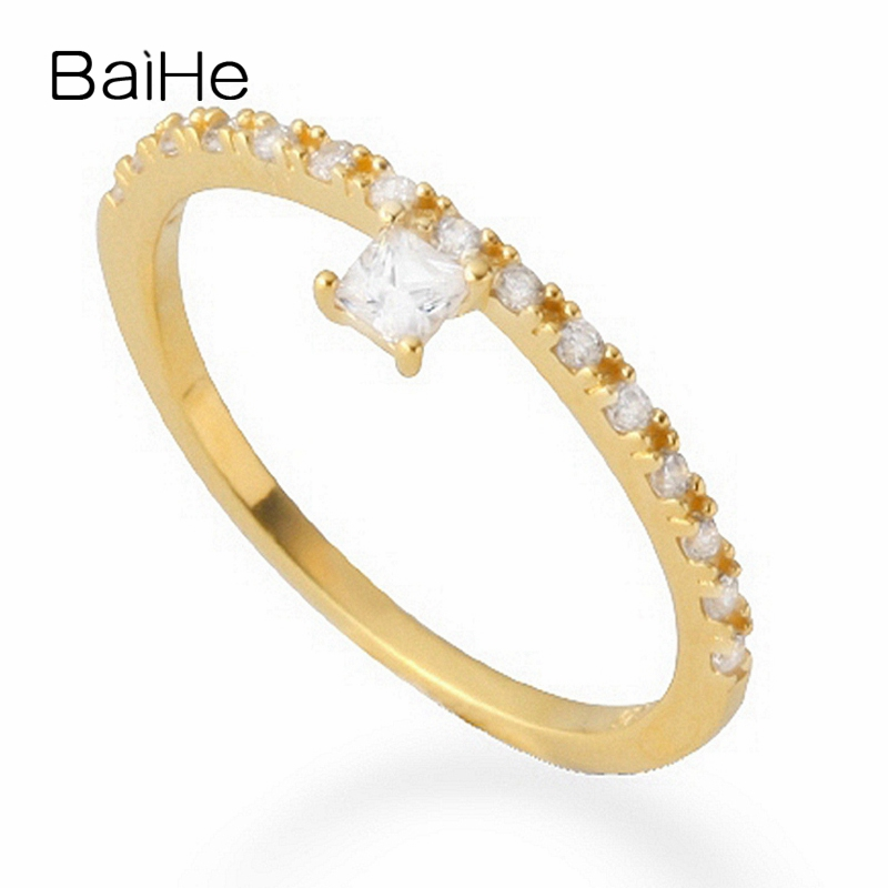 BAIHE Solid 18K Yellow Gold(AU750) Certified 0.10ct Princess Engagement 100% Genuine Natural Diamonds Women Fine Jewelry Ring
