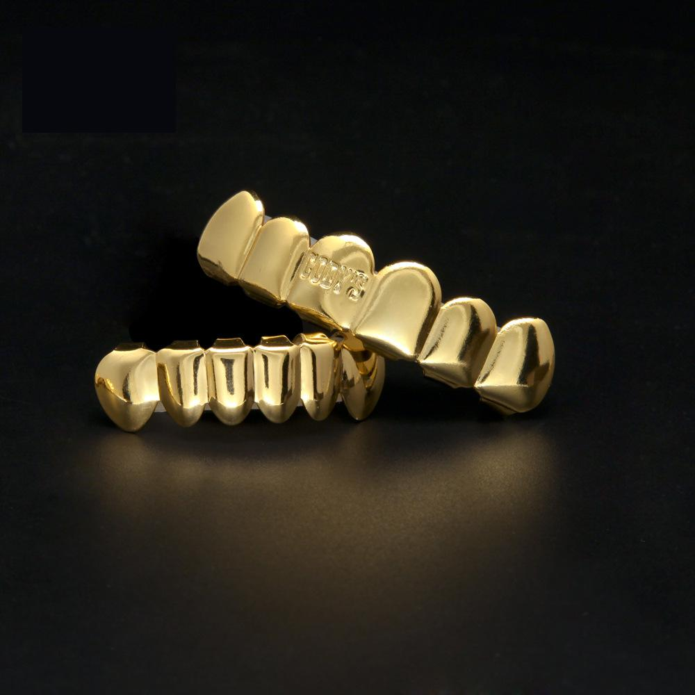 New 100 Real Gold Plated Shiny Letter Hip Hop Teeth For