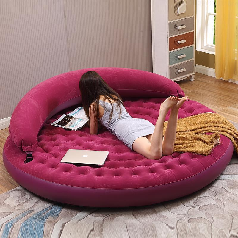 Indoor Use Round Inflatable Folding Floor Bed Foldable PVC Air Sofa Mattress Louge Chairs with Backrest Innrech Market.com