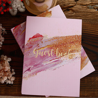 Free shipping 1pcs pink watercolor bronzing flower Memoir album Company party Wedding signature guest book