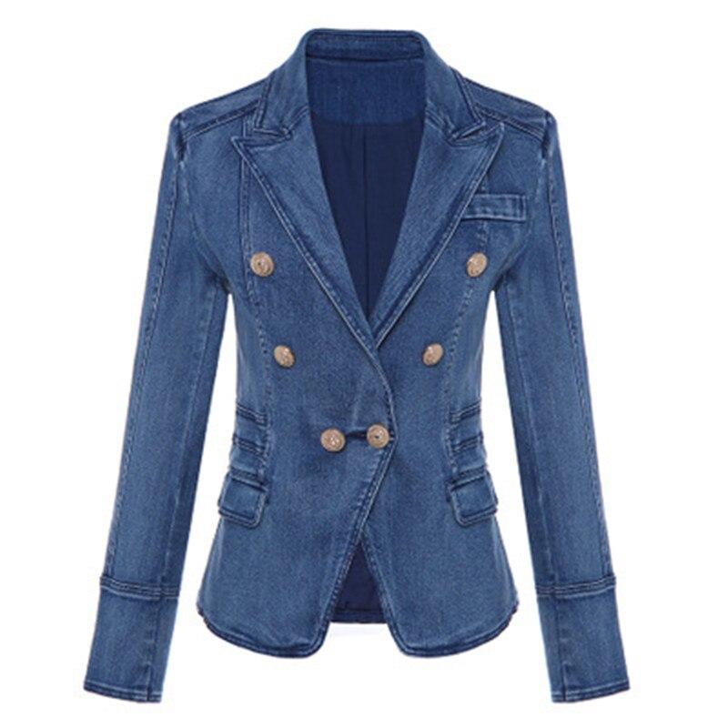 Haute qualité nouvelle mode 2018 Designer Blazer femmes métal Lion boutons Double boutonnage Denim Blazer veste manteau extérieur