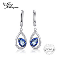 JewelryPalace 1.7ct אופנה טבעי סקיי בלו טופז עגילי קליפ כסף סטרלינג 925 אמיתי אישה בציר תכשיטים