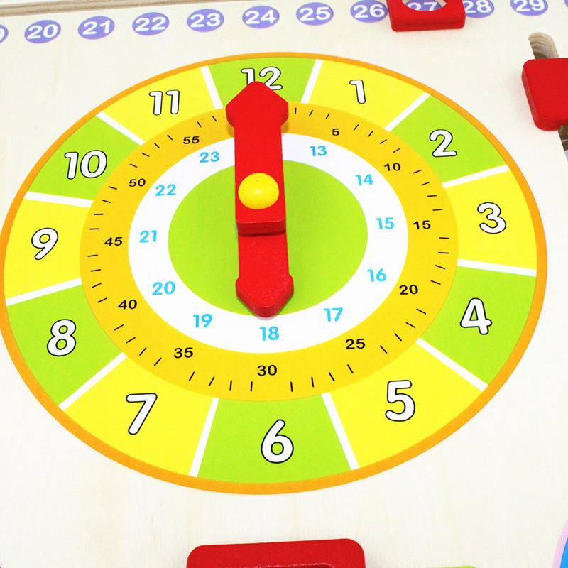 Calendar and Clock Wood Numbers Math Preschool Early Education 4