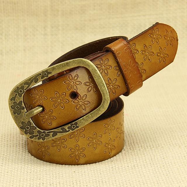 Europa moda simples selvagem de metal pin fivela cinto de couro de impressão para as mulheres do vintage jeans decorativa designer da marca cinto fino