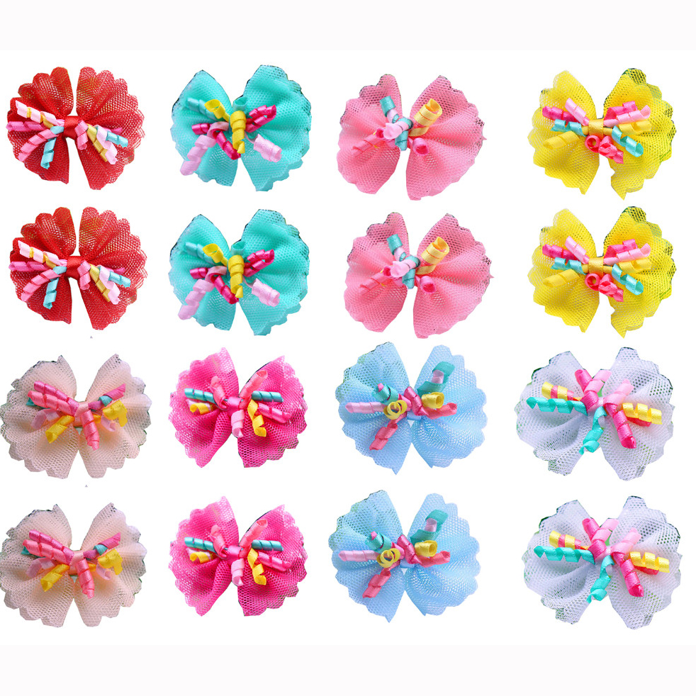 100PCS Dog Bows Volumes Ribbon Pet Hair Bows Dog Lace Bowknot Rubber Bands Cute Dog Hair Accessories Porcelain Gift For Dogs
