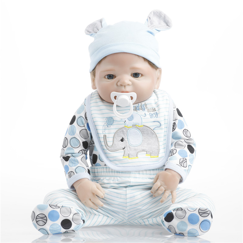 SanyDoll 22 inches 55cm silicone baby reborn dolls, lifelike dolls reborn Fashion suit cute baby holiday gift sanydoll reborn baby dolls cute suit clothes gift baby growth partners magnet pacifier 22 55cm