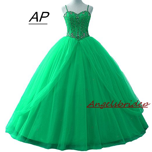 ANGELSBRIDEP Quinceanera Dresses Vestido 15 Anos Fashion Spaghetti Straps Beading Bodice Floor Length Sweet 16 Debutante