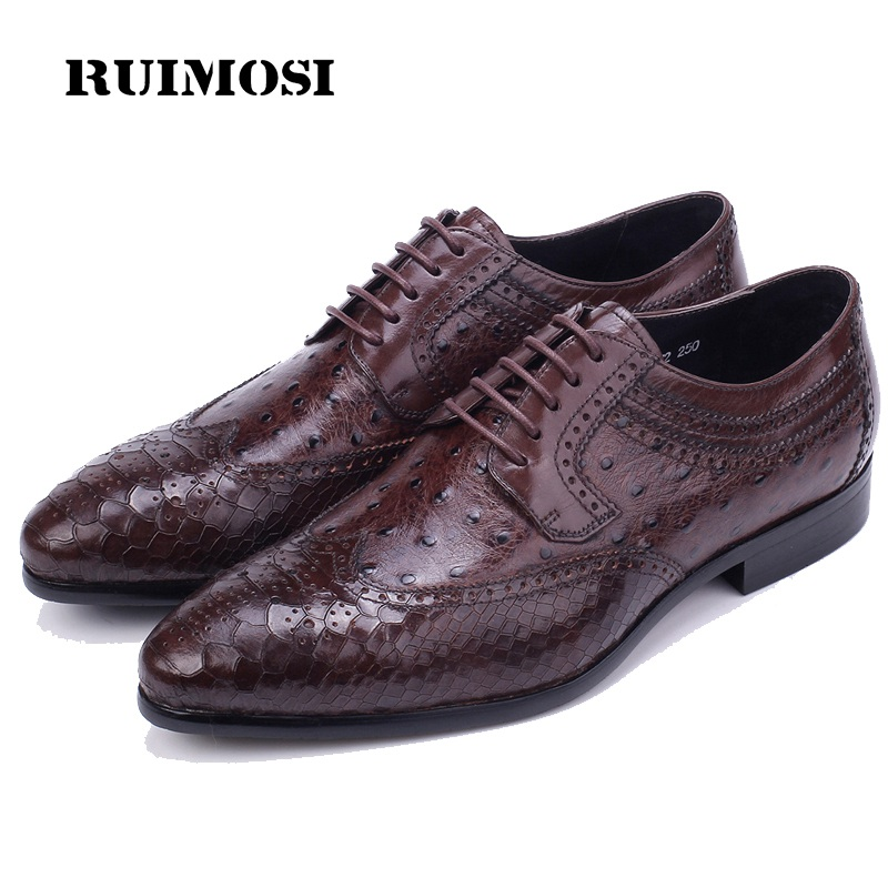 RUIMOSI Crocodile British Designer Brand Man Formal Dress Shoes Vintage Genuine Leather Brogue Oxfords Men's Wing Tip Flats GK44