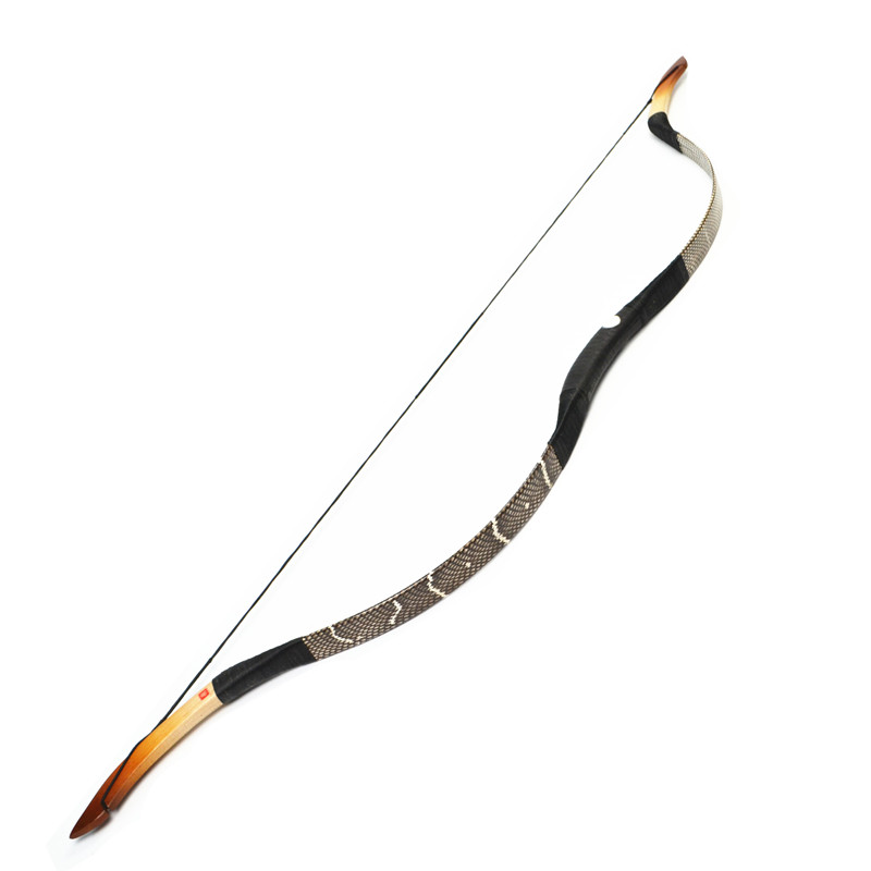 FB03-1 hot 20-50bls real Snakeskin Ride Longbow Recurve Archery fiberglass hunting Leather bow Outdoor Sport Free Shipping