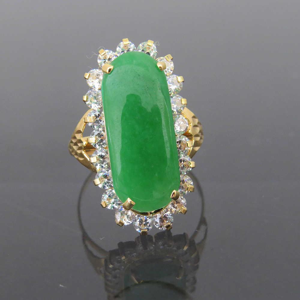 ของแข็ง14พันสีเหลืองทองธรรมชาติสีเขียวหยกและสีขาวM Oissaniteรัศมีแหวนหมั้นงานแต่งงานสำหรับผู้หญิงในเครื่องประดับFine