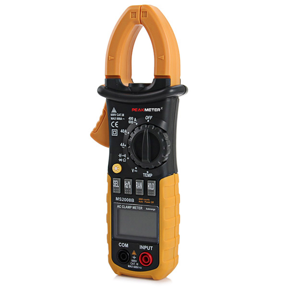 PEAKMETER MS2008B Digital Multimeter Clamp Meter DC/AC Voltage Meter with Backlight Electrical Multimetro Tester 4000 Counts 86a pocket size mini digital multimeter backlight ac dc ammeter voltmeter ohm electrical tester portable 1999 counts meter