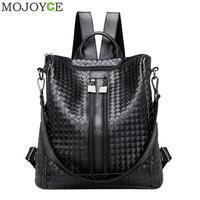 Women Weave PU Leather Backpack Large Capacity Travel Girls Backpacks Students Schoolbag Soft Shoulder Bag Black