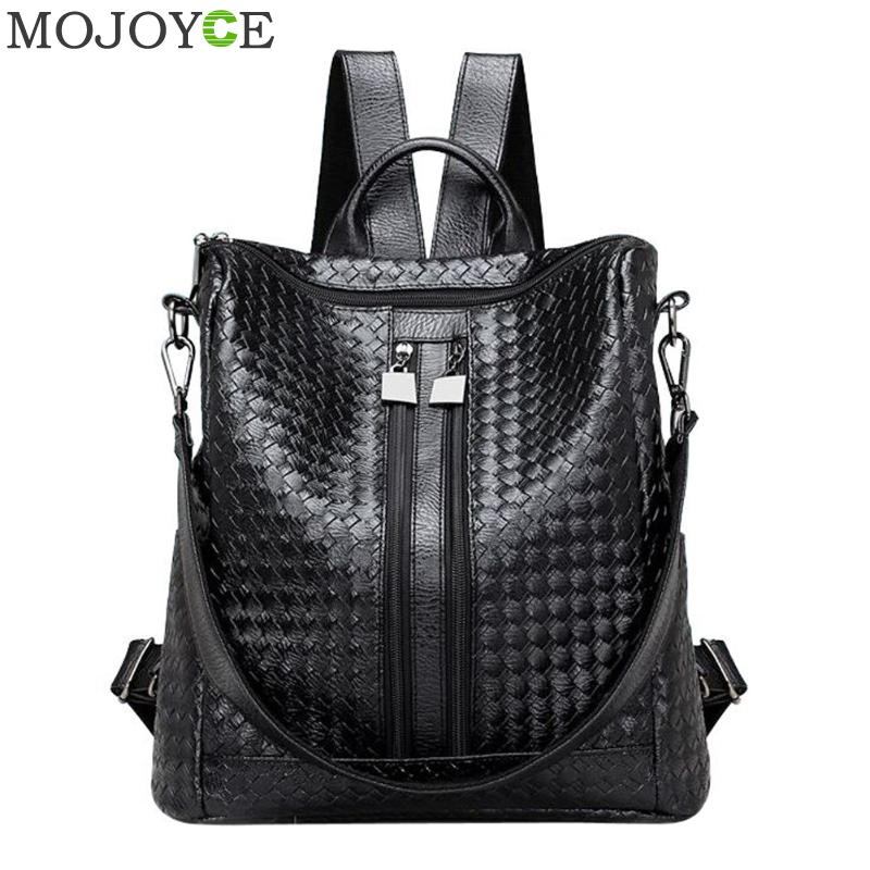Women Weave PU Leather Backpack Large Capacity Travel Girls Backpacks Students Schoolbag Soft Shoulder Bag Black Backpacks New