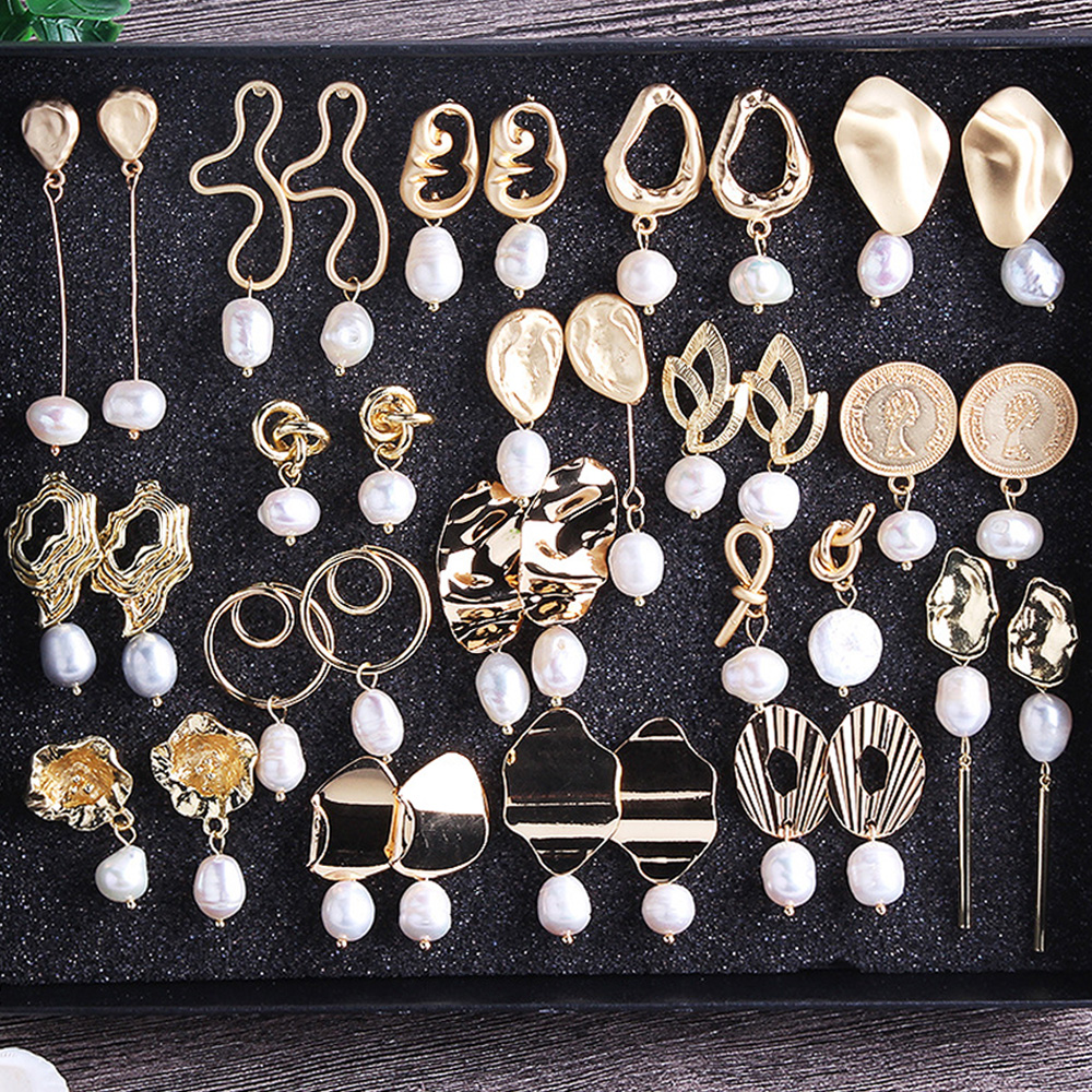 2019 Women Girl Boho Fashion Multicolor Pearl Drop Earrings Geometric  Hanging Dangle Earrings Pendant Wedding Party Jewelry