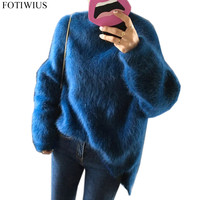 Winter Warm Mohair Sweaters Women Oversized Sweater And Pullover Loose Jumper Ladies Knitted Sueter Mujer Plus Size Feminino