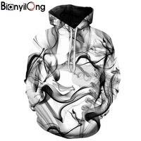 BIANYILONG New Fashion Men Women 3d Sweatshirts Print Watercolor Dreamy Smoke Lines Thin Style Autumn Winter