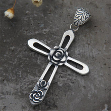 Rock Vintage Punk Jewelry Carving Cross Necklace Pendant 990 Sterling Silver Unisex Collier for Women and Men Party Gift
