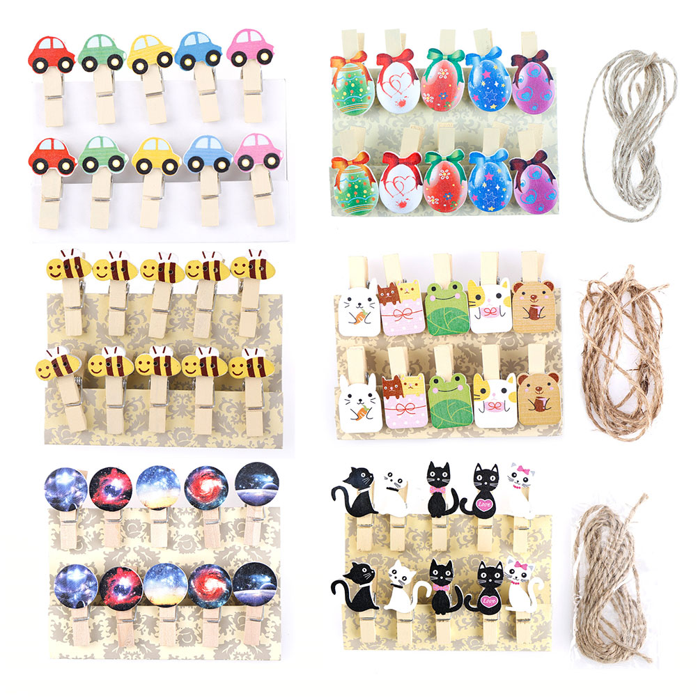 10Pcs/lots Kawaii Cat Car Bee Egg Wooden Clip Photo Paper Postcard Craft DIY Decoration Clips Office Binding Supplies Stationery