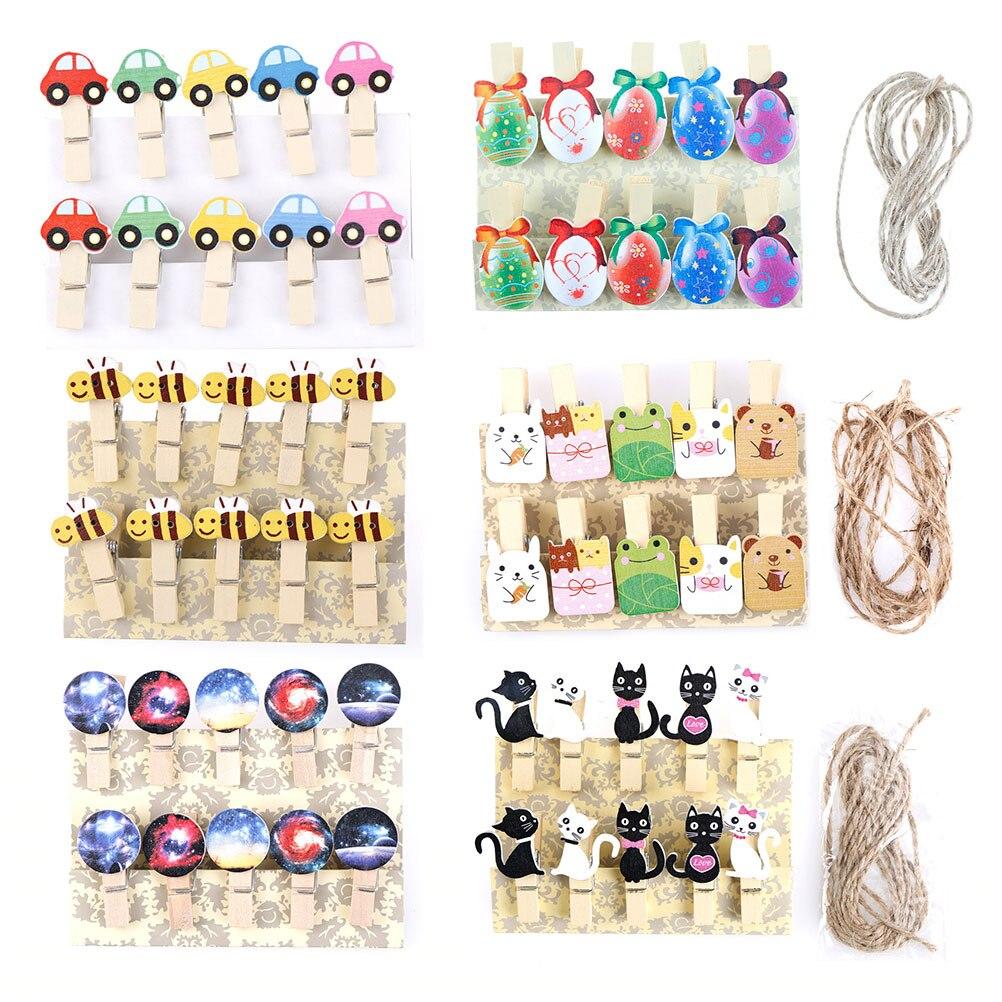 10Pcs/lots Kawaii Cat Car Bee Egg Wooden Clip Photo Paper Postcard Craft DIY Decoration Clips Office Binding Supplies Stationery
