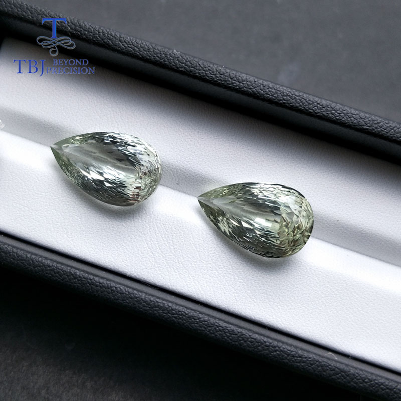 Tbj, 100% Natural Green amethyst pear 12*20mm,9.95ct honeycomb cut loose gemstone for Do It Yourself jewelry