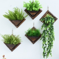 Pastoral retro wooden flower basket wall decoration hanging flower pot wall creative wall hanging flowers