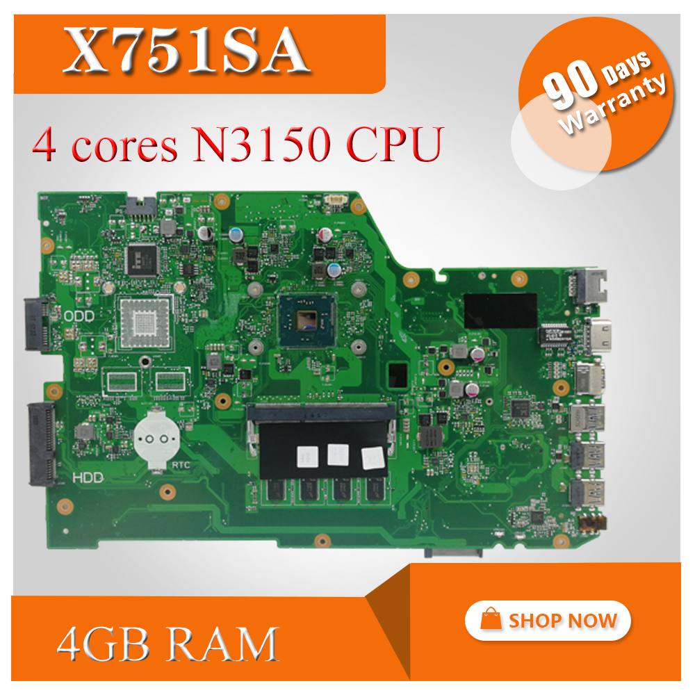 X751SA <font><b>4</b></font> cores N3150 CPU 4GB RAM Laptop <font><b>motherboard</b></font> For Asus X751S X751SJ X751SV mainboard Tested Working free shipping image