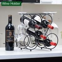 Tabletop Freestanding 4 Wine Glass Metal Rack Countertop 5 Wine Bottles Holder Display Stand Wine Rack