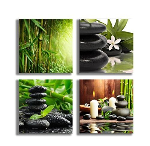 4 Panels Bamboo Green Pictures With SPA Zen Stone Candles Flower Print On Canvas Wall Art For Home Decor Bathroom Living Room