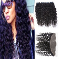 7A Brazilian Virgin Hair With Frontal Closure 4 Bundles With Frontal Closure Brazilian Water Wave Virgin Hair With Frontal