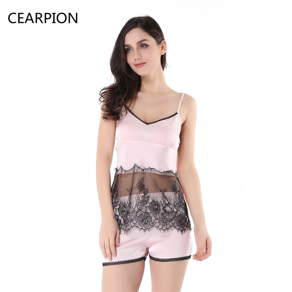 CEARPION Sexy Lace Women Satin Cami And Shorts Set Pyjamas Nightgown Comfy Pajamas Sexy Nightie Sleepwear Summer Bath Robe Gown