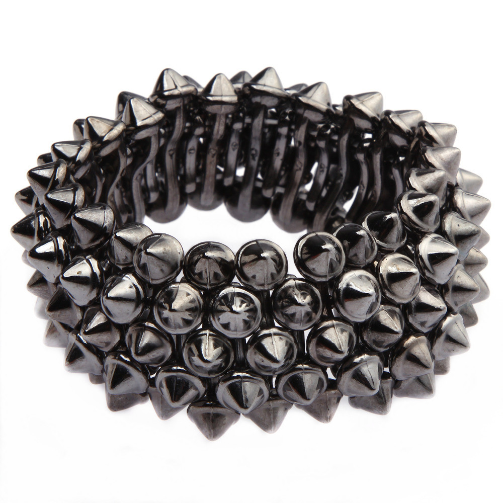 3 Colors Women Gothic Punk Rock Studs Spike Rivets Shaped Stretch Nickel Bronze Silver Color Bracelets Men For Women Bracelet