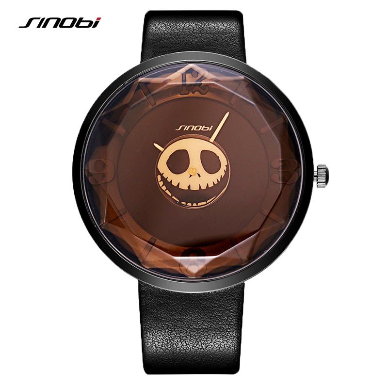 Prix pour SINOBI Crâne Femmes Montres Bracelet En Cuir Marque De Luxe Lady Montre De Mode Femme Genève Quartz Horloge Pirate Sorcière 2016