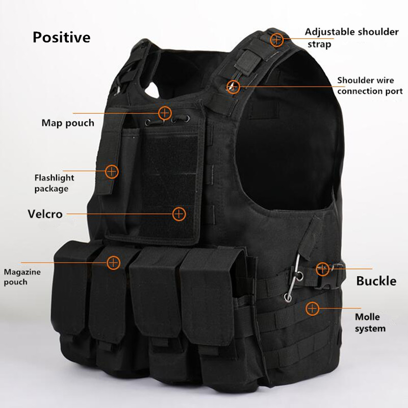 Amphibians combat Molle design military Tactical Hunting vest Quick Release Modular Military Molle Combat with magazine pouch adjustable quick release plastic tactical puttee thigh leg pistol holster pouch for usp45 black