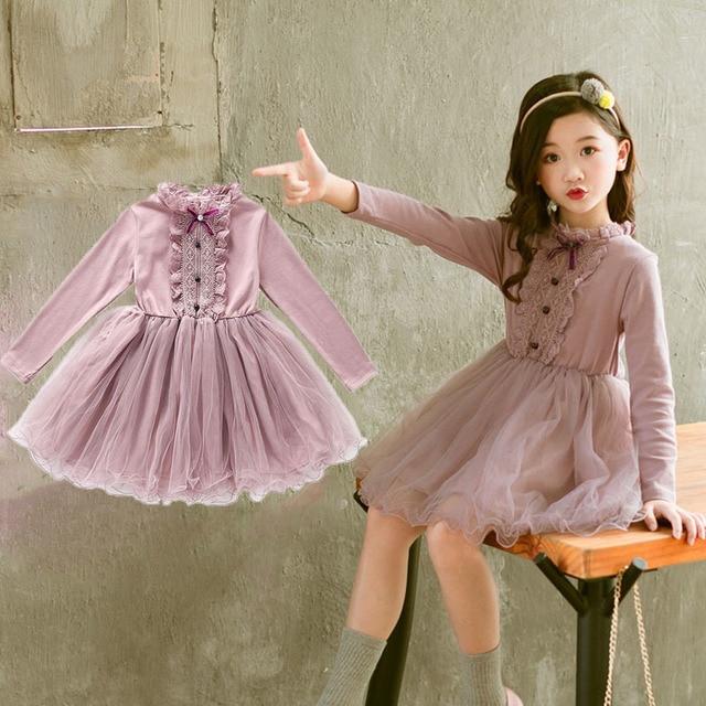 0145ce173 Kids Girls Long Sleeve Dresses 2019 Autumn Winter Toddler Tutu Dress ...