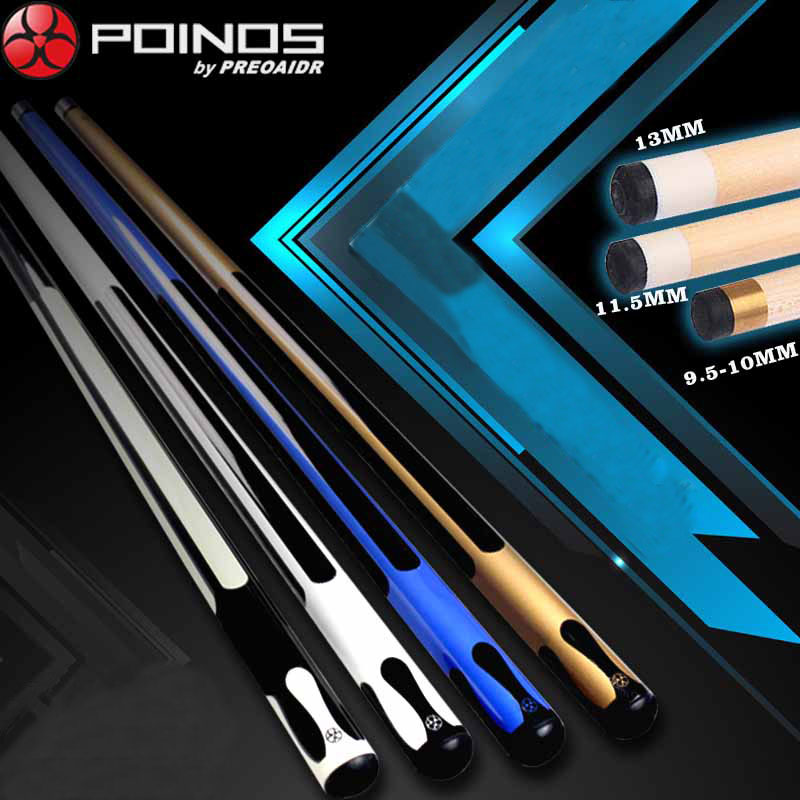 13mm 11 5mm 10mm Tip Maple Billiards Cue Pool Stick Center Joint Billiard Cue Blue Gold