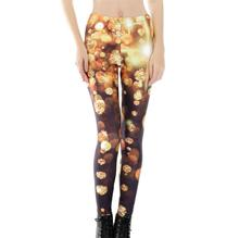 New Women Slim Sexy Leggings Trousers Girls Yoga Fitness High Elastic Tights Nine Points Golden Diamond 3D Digital Print Pants