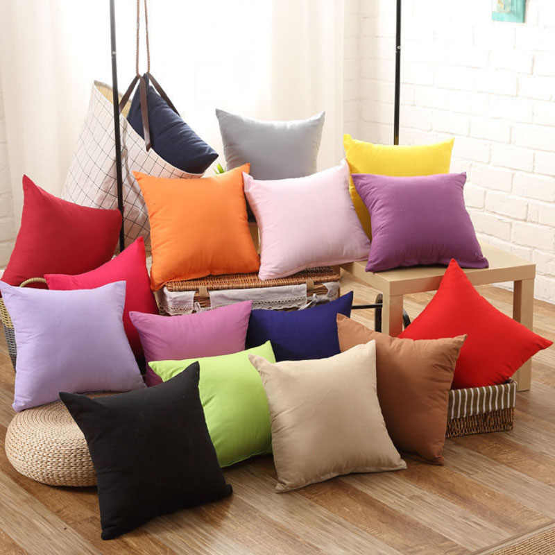 Warna Solid Fashion Square Bantal 45*45 Cm Hot Office Cover Baru 1 PC Lembut Melempar Bantal Case Rumah kapas